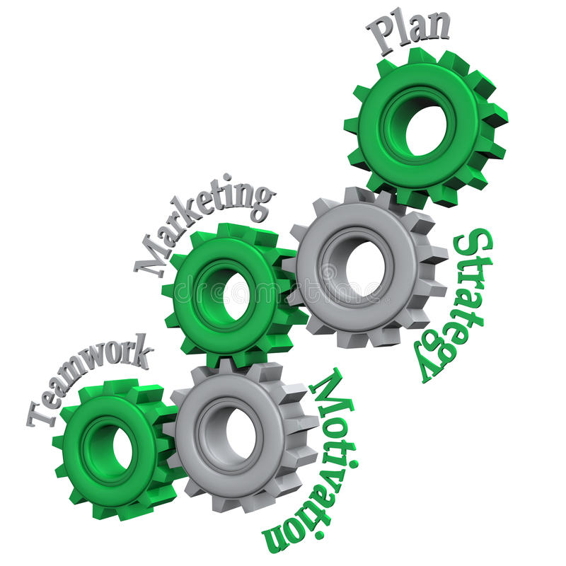 Gears From Teamwork To Plan. Gears with text Teamwork, Marketing, Motivation, Strategy and Plan. White background royalty free illustration