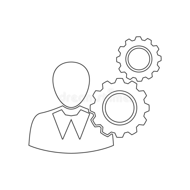 gears of thoughts of person icon. Element of HR for mobile concept and web apps icon. Outline, thin line icon for website design stock illustration