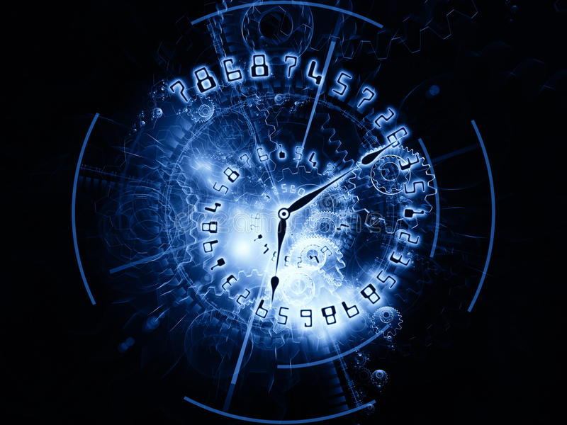 Gears of time. Clock hands, gears, lights and numbers arrangement suitable as a backdrop in projects on time sensitive issues, deadlines, scheduling, temporal vector illustration