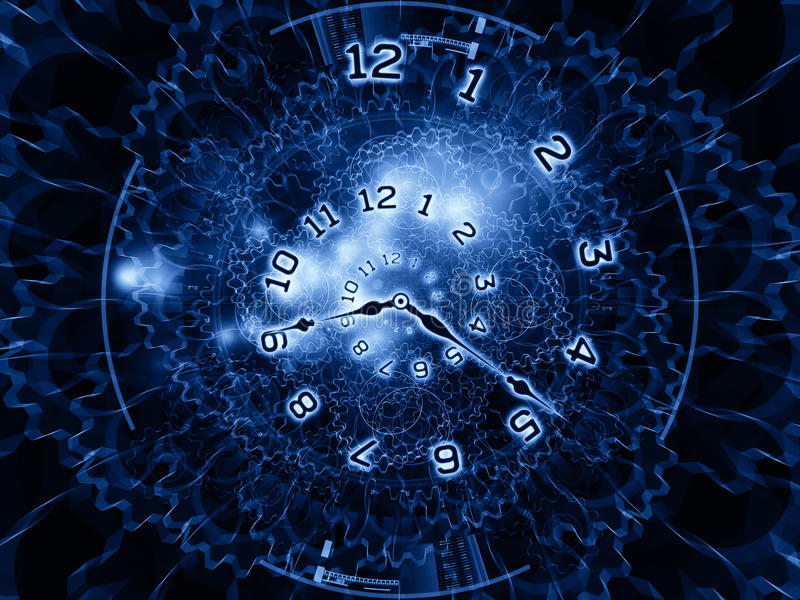 Gears of time. Clock hands, gears, lights and numbers arrangement suitable as a backdrop in projects on time sensitive issues, deadlines, scheduling, temporal royalty free illustration