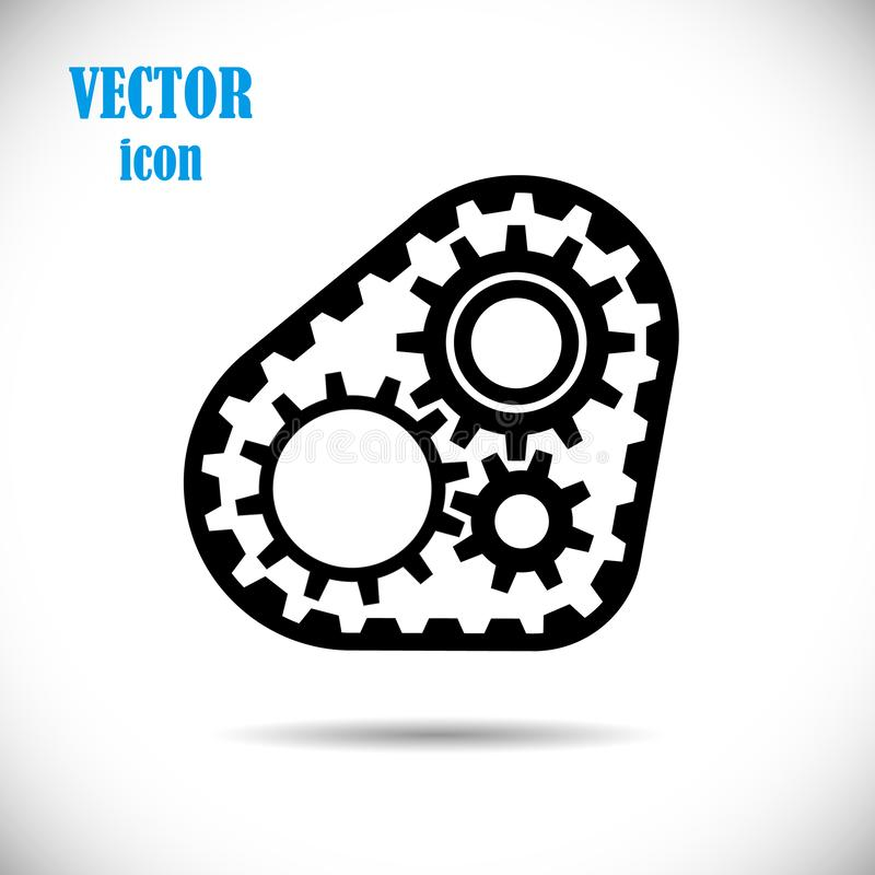 Gears with timing belt, icon. The concept of operation of the engine or drive chain mechanisms. Vector illustration. stock illustration