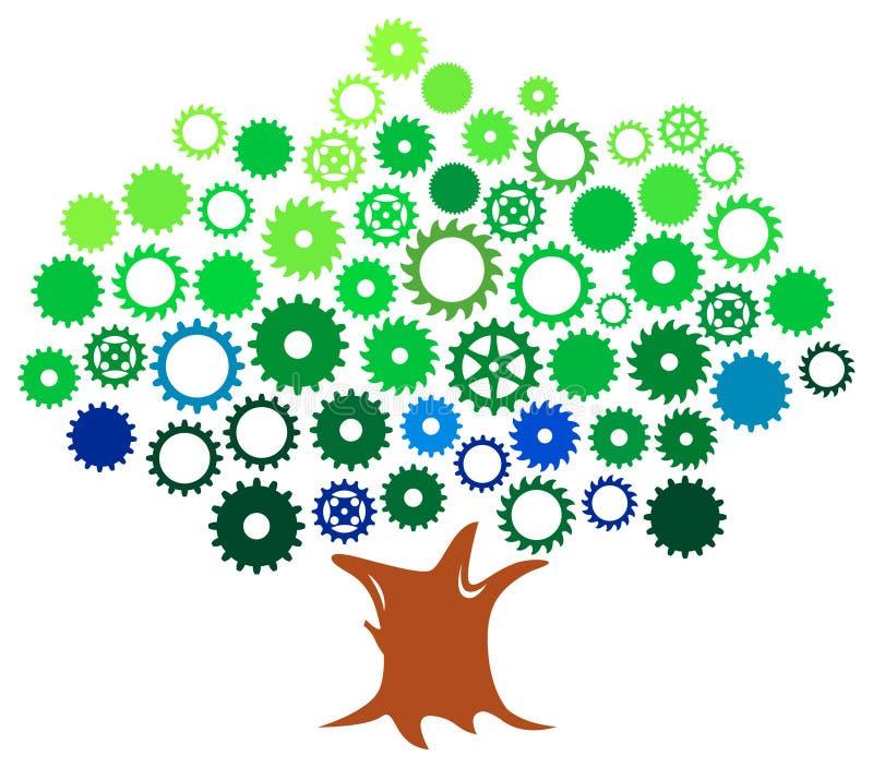 Gears treen royaltyfri illustrationer
