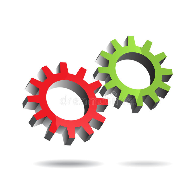 Gears turning. Illustration of two floating gears turning each other efficiently stock illustration