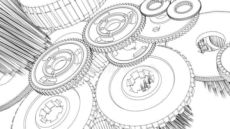 Gears turning blueprint sketch animation stock footage video of gears turning blueprint sketch animation stock footage video of nobody painting 43651894 malvernweather Choice Image