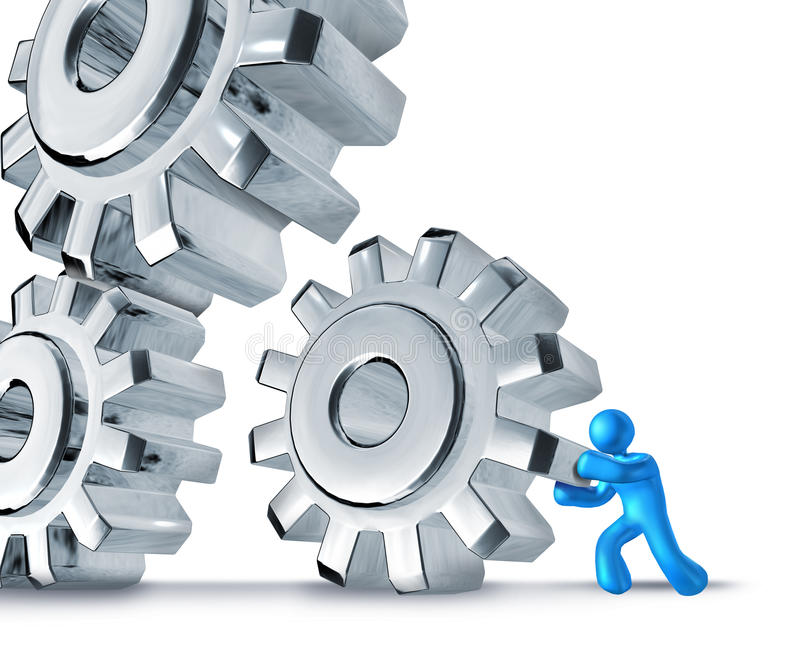 Gears turning teamwork. Background blue royalty free illustration