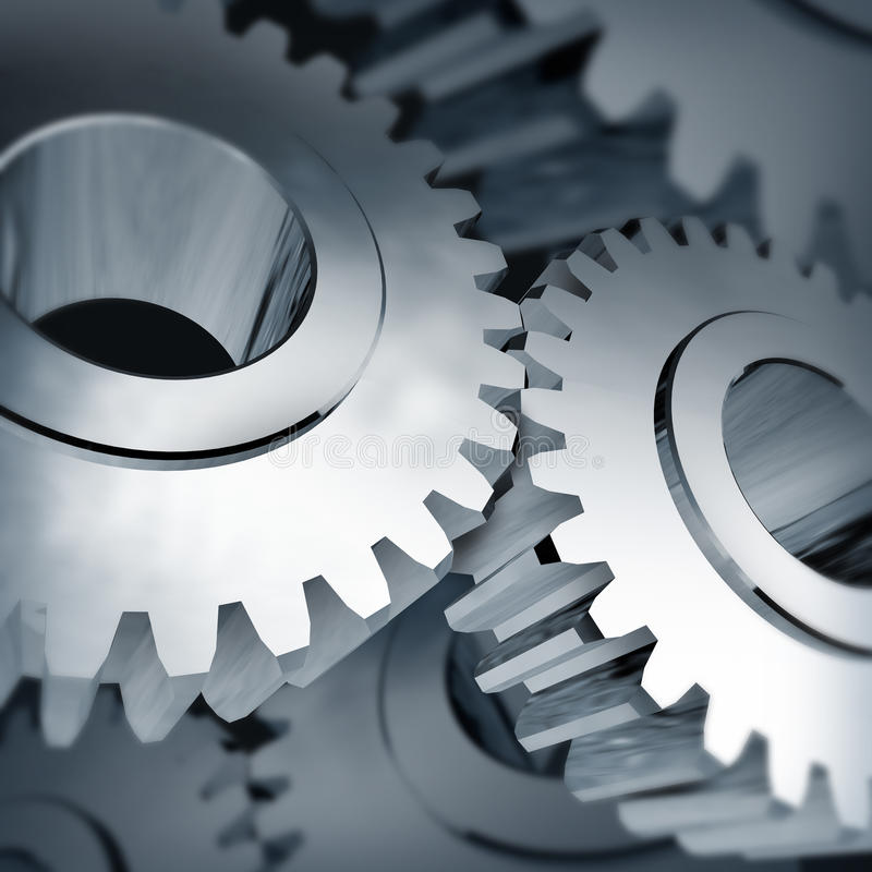 Gears turning teamwork. Metal isolated background stock illustration