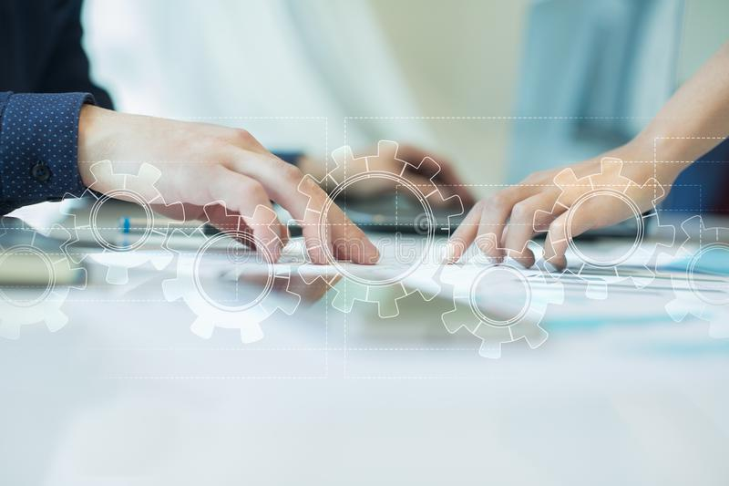 Gears on virtual screen. Business strategy and technology concept. Automation process stock image