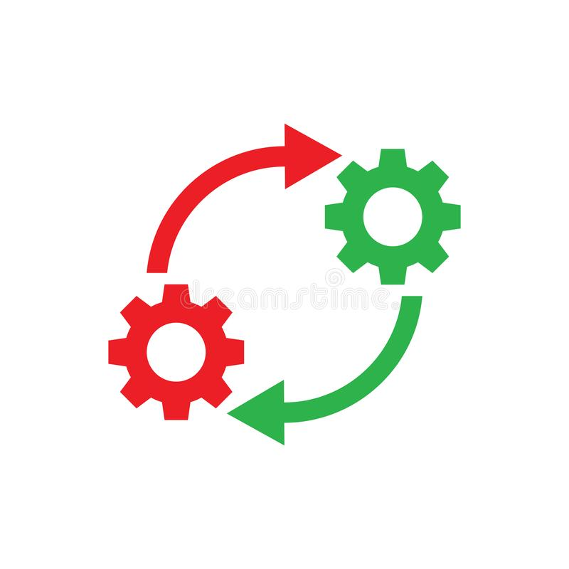 Free Gears Wheel With Arrows - Concept Icon Vector Design. SEO Creative Logo Sign. Exchange Interaction Symbol. Stock Image - 154598431