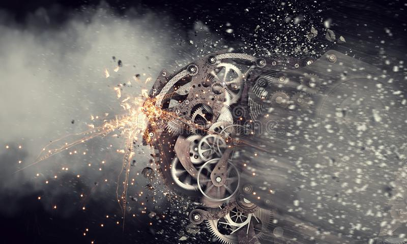 Gears working mechanism. Mixed media. Mechanism of gears and cogwheels on dark background. Mixed media stock image