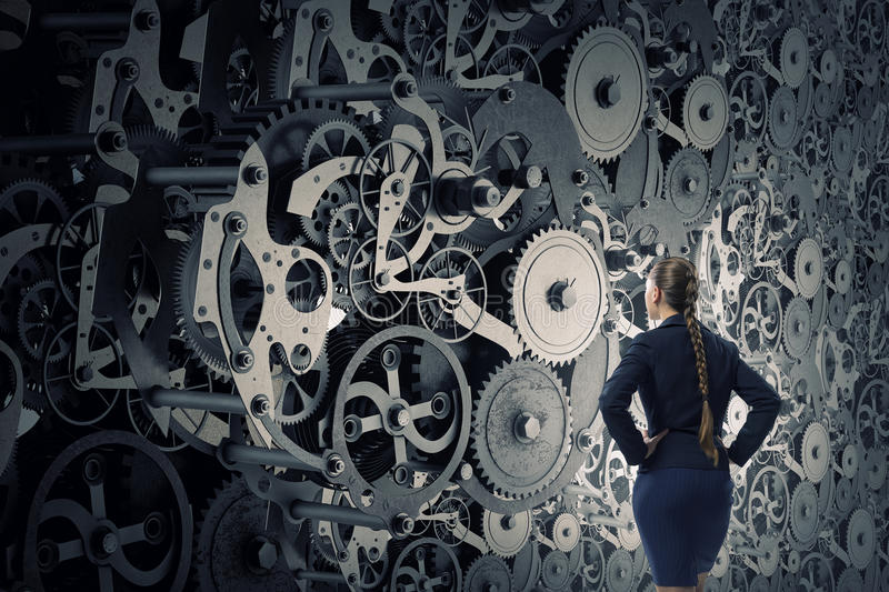 Gears working mechanism . Mixed media royalty free stock images