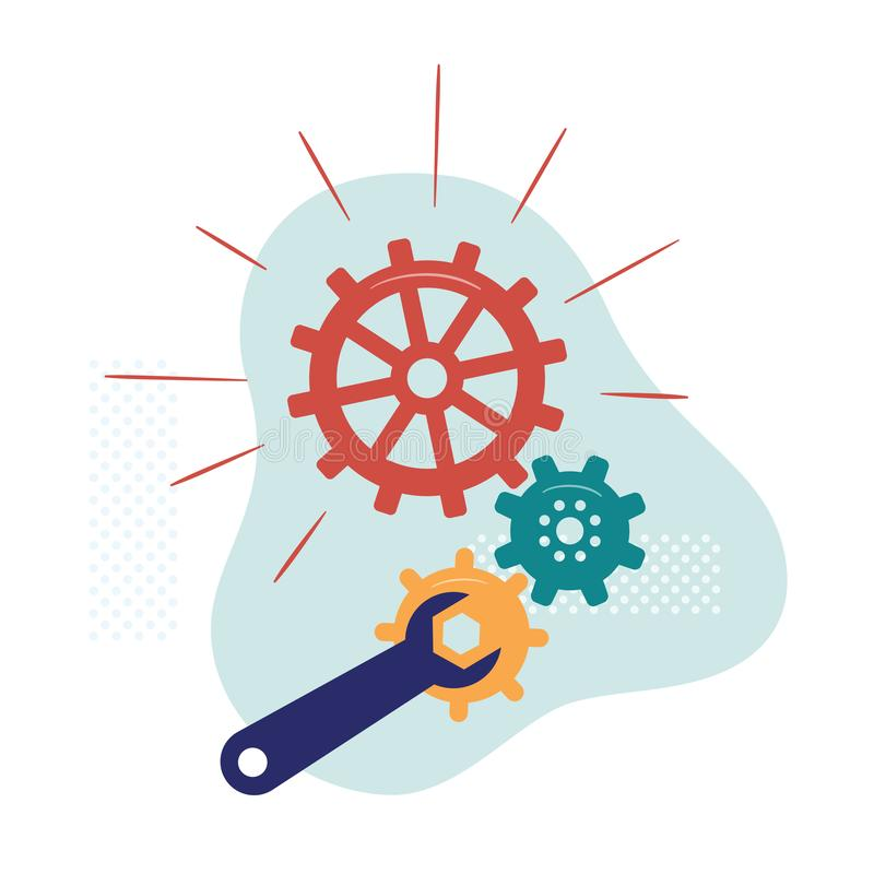 Gears and wrench. Symbol of equipment repair, system settings, technical works, software configuration, debugging mobile royalty free illustration