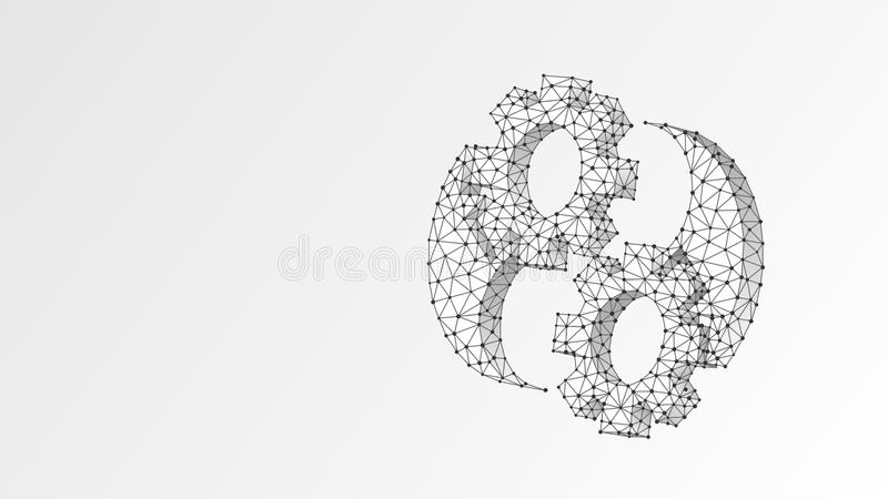 Gears Yin-Yan symbol. Industry balance, business solution, technology, engineering concept. Abstract, digital, wireframe stock illustration