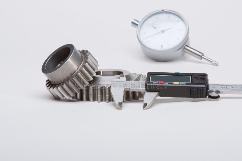 Gearset en toestellen met het meten van hulpmiddelen. stock afbeeldingen