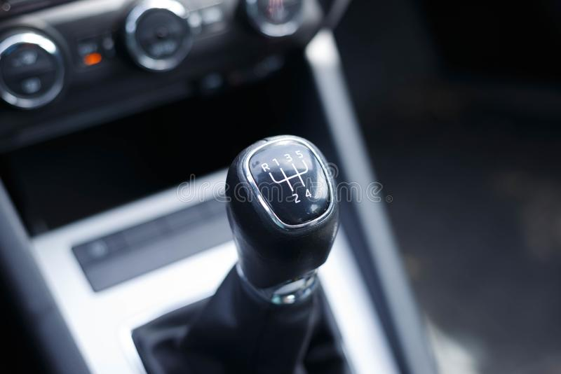 Gearshift lever of a car manual transmission. royalty free stock photo