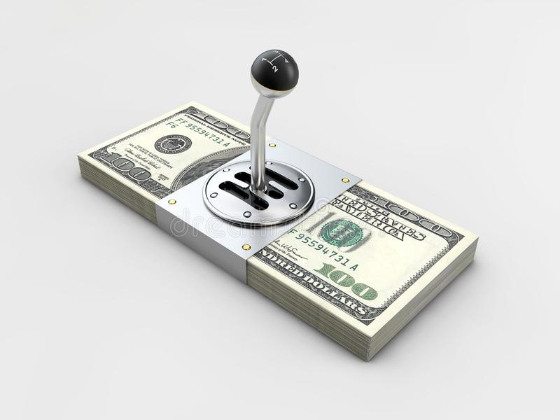 Gearshift on stack of money isolated on gray background. 3d illustration stock illustration