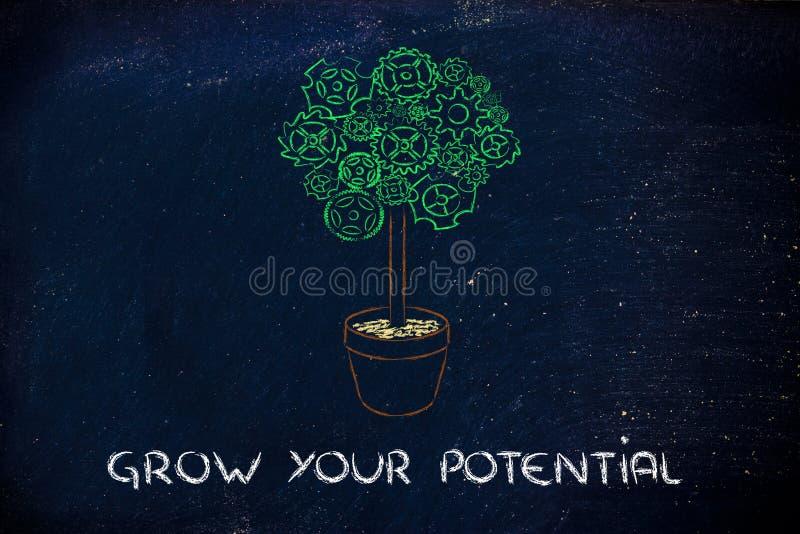 Gearwheel δέντρο, υπερφυσική ερμηνεία της πράσινης οικονομίας στοκ εικόνες