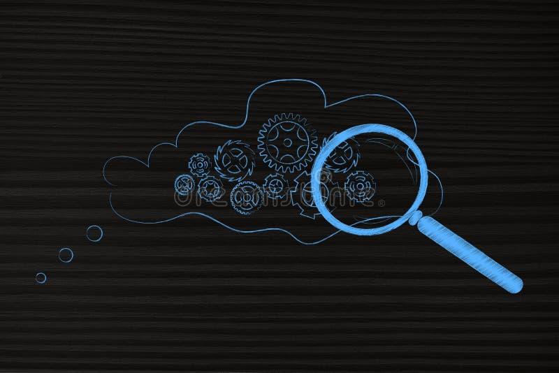 Gearwheel μηχανισμός μέσα στη σκεπτόμενη φυσαλίδα με την ενίσχυση - γυαλί στοκ εικόνες