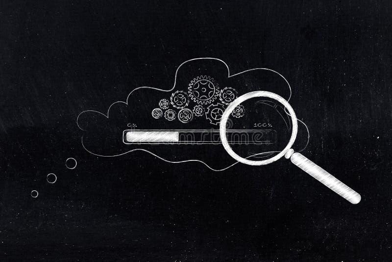 Gearwheel μηχανισμός με τη φόρτωση φραγμών προόδου μέσα στη σκέψη bub στοκ φωτογραφίες