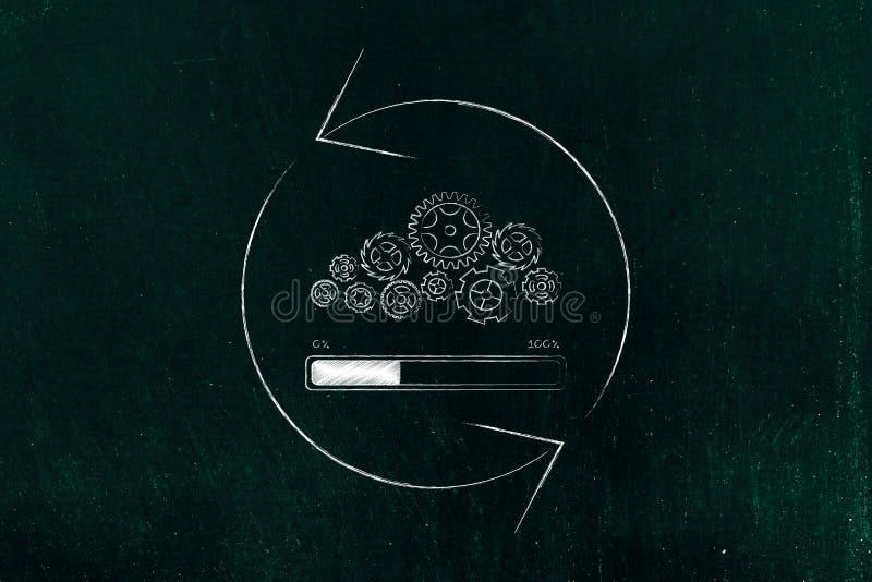 Gearwheel μηχανισμός με το βέλος φόρτωσης και περιστροφής φραγμών προόδου στοκ εικόνα με δικαίωμα ελεύθερης χρήσης