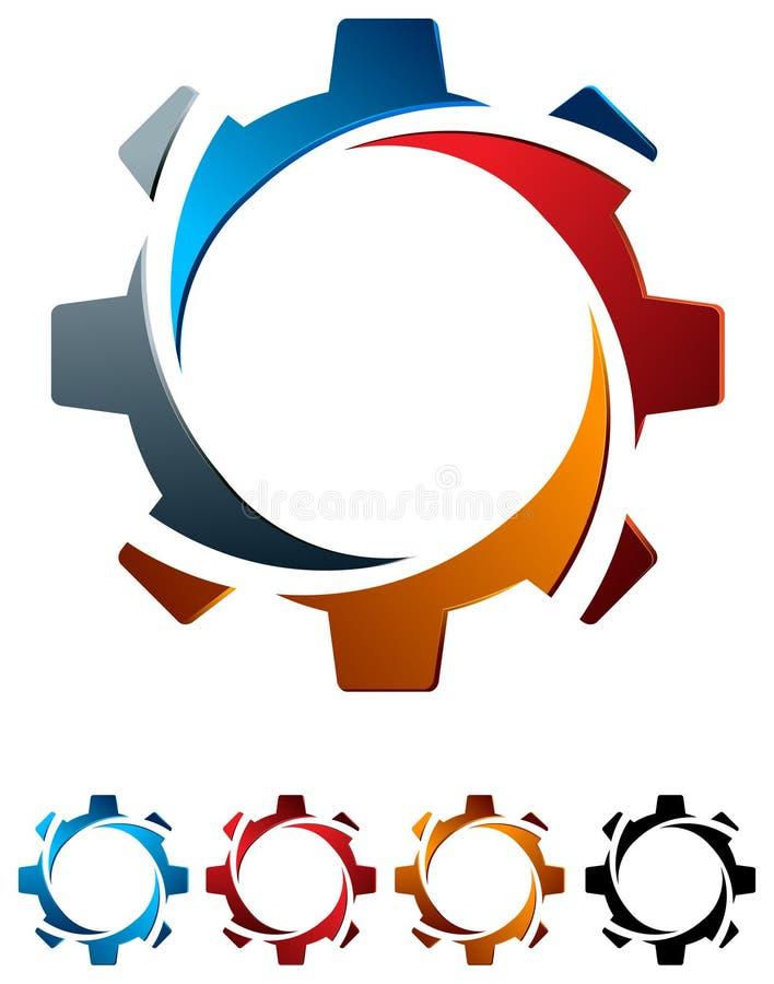 Gearwheel с свирлью иллюстрация вектора