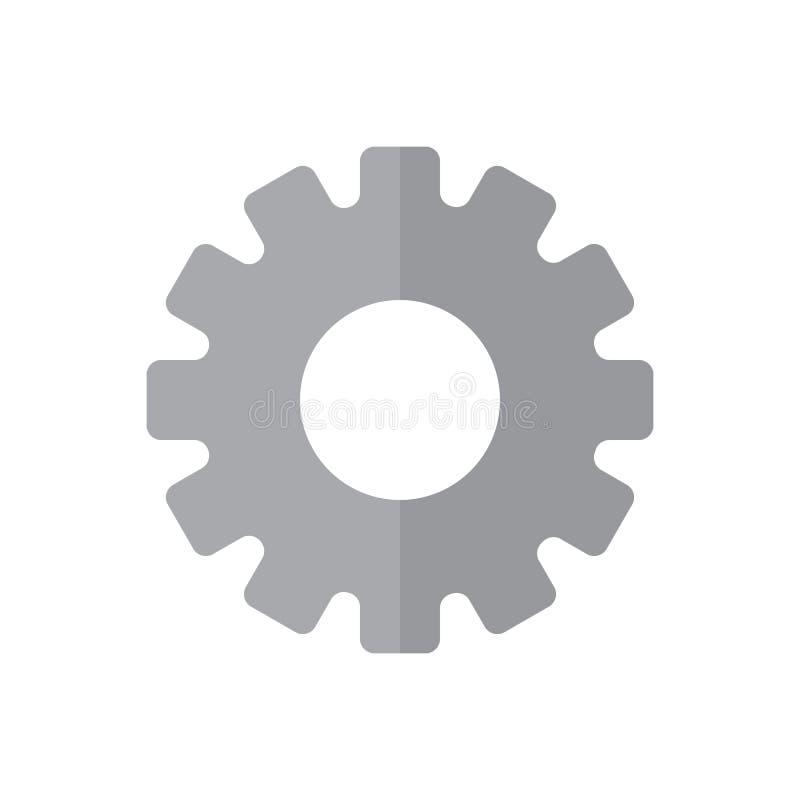 Gearwheel płaska ikona, wypełniający wektoru znak, kolorowy piktogram odizolowywający na bielu ilustracja wektor