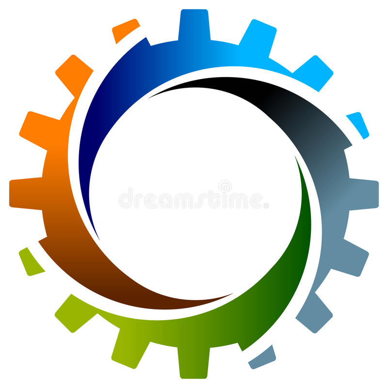 Gearwheel with swirl. Isolated illustrated logo design