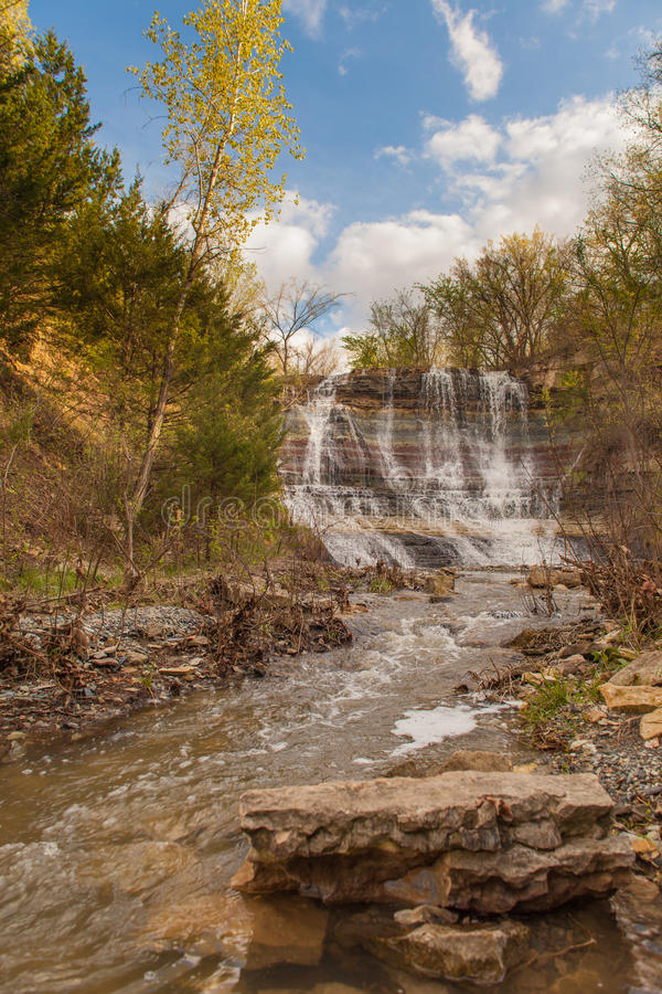 Geary Falls. Vertical image of Geary Falls at Geary State Lake in rural Junction City, Kansas stock images