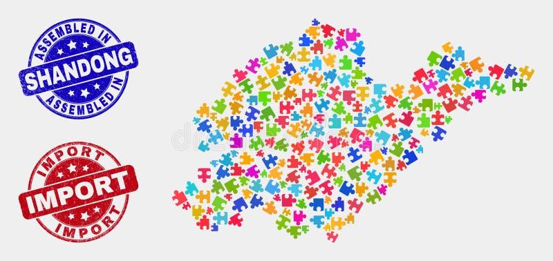 Geassembleerde de Provinciekaart van moduleshandong en Grunge en de Invoerwatermerken vector illustratie