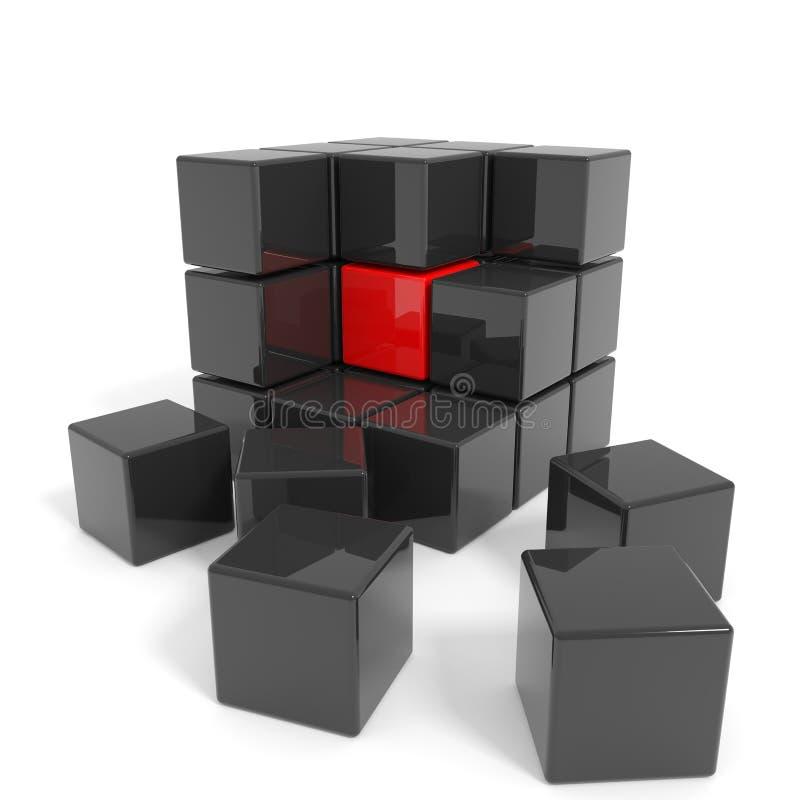 Geassembleerde zwarte kubus met rode kern. vector illustratie