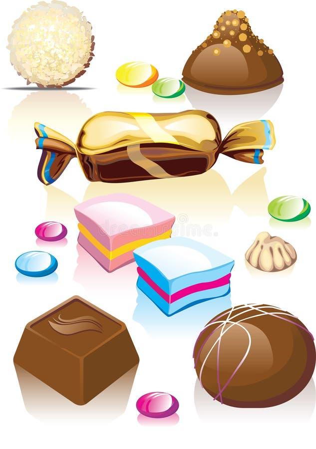 Geassorteerd chocoladesuikergoed. stock illustratie