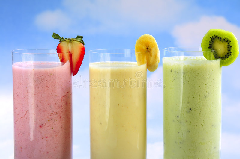 Geassorteerd fruit smoothies royalty-vrije stock foto