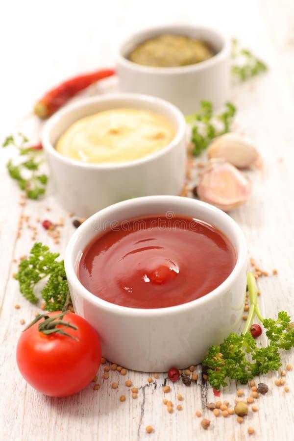 Geassorteerd saus en ingrediënt royalty-vrije stock fotografie