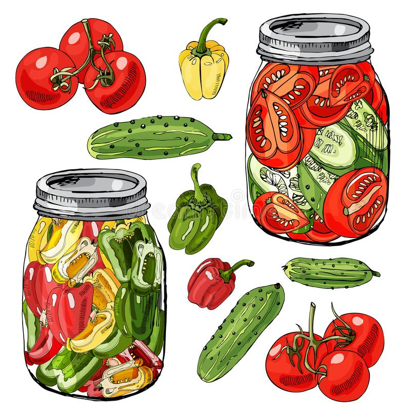 Geassorteerd thuiswerk van groenten Rode, groene en gele die tomaten, komkommer en peper op witte achtergrond worden geïsoleerd vector illustratie