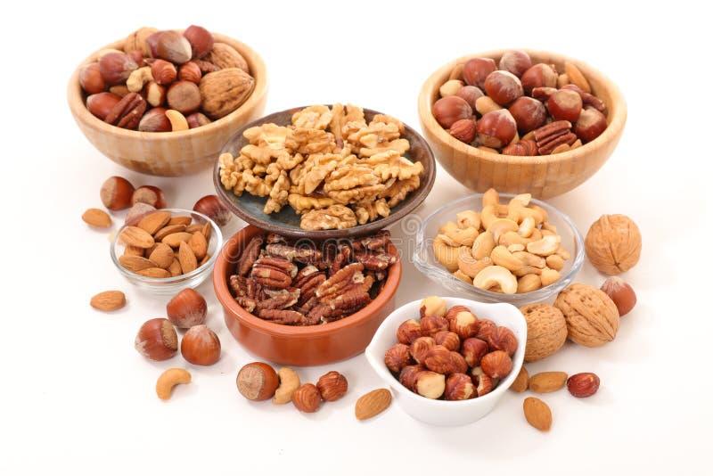 Geassorteerd van noten in kom royalty-vrije stock foto's