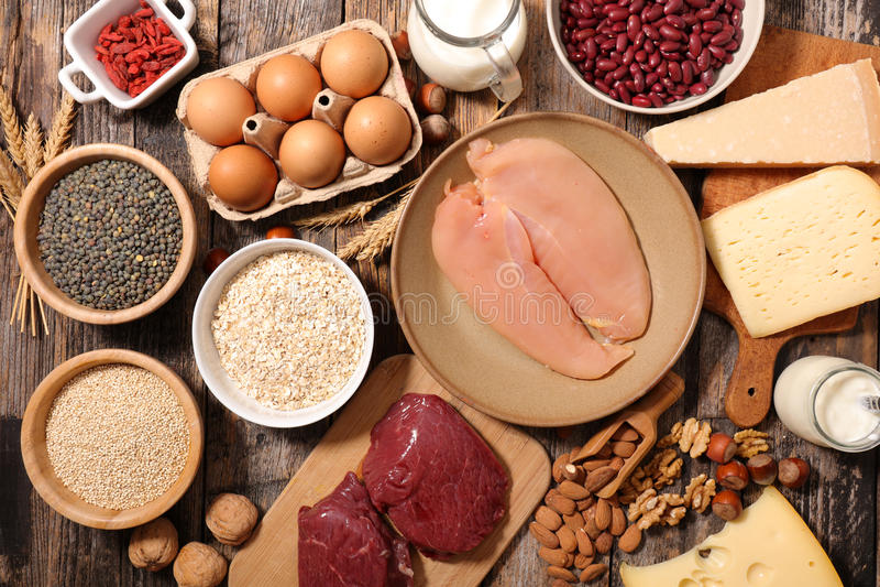 Geassorteerd voedsel hoog in proteïne royalty-vrije stock foto