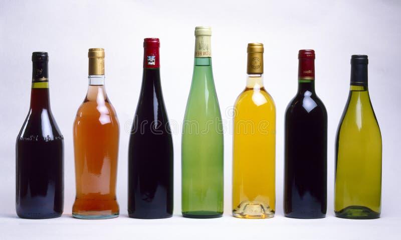 Geassorteerde botles van wijn royalty-vrije stock foto's