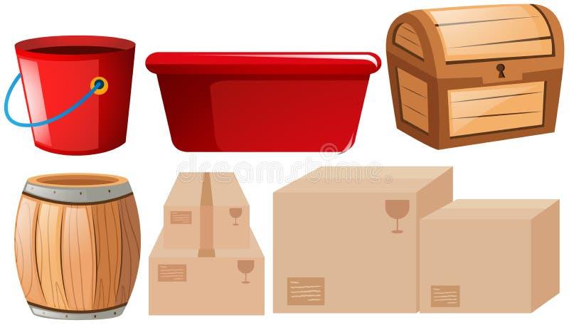 Geassorteerde containers op wit royalty-vrije illustratie