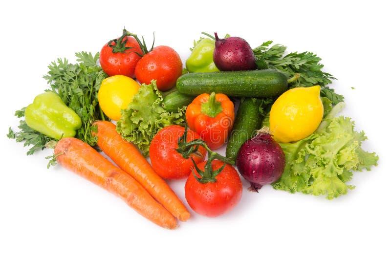 Geassorteerde die groenten op het wit worden geïsoleerd royalty-vrije stock fotografie
