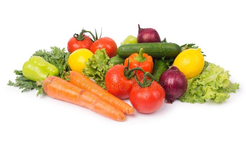 Geassorteerde die groenten op het wit worden geïsoleerd royalty-vrije stock foto