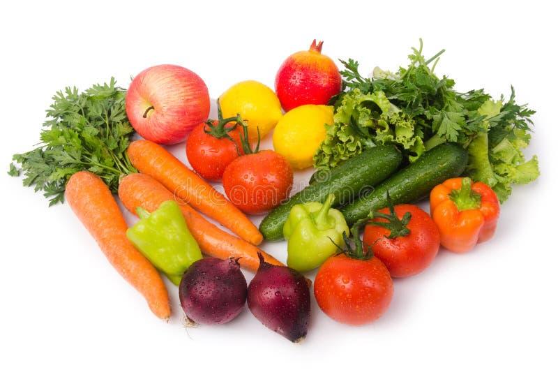 Geassorteerde die groenten op wit worden geïsoleerd stock foto's