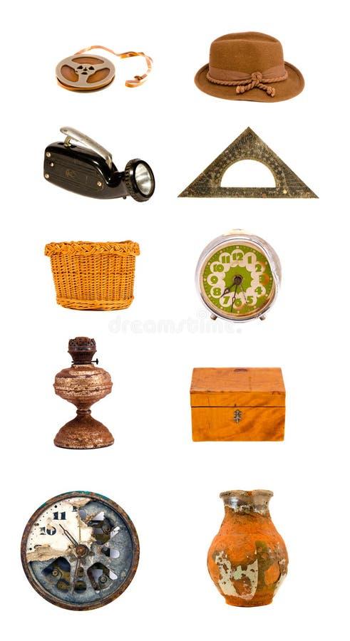 Geassorteerde diverse oude objecten en hulpmiddeleninzameling royalty-vrije stock foto