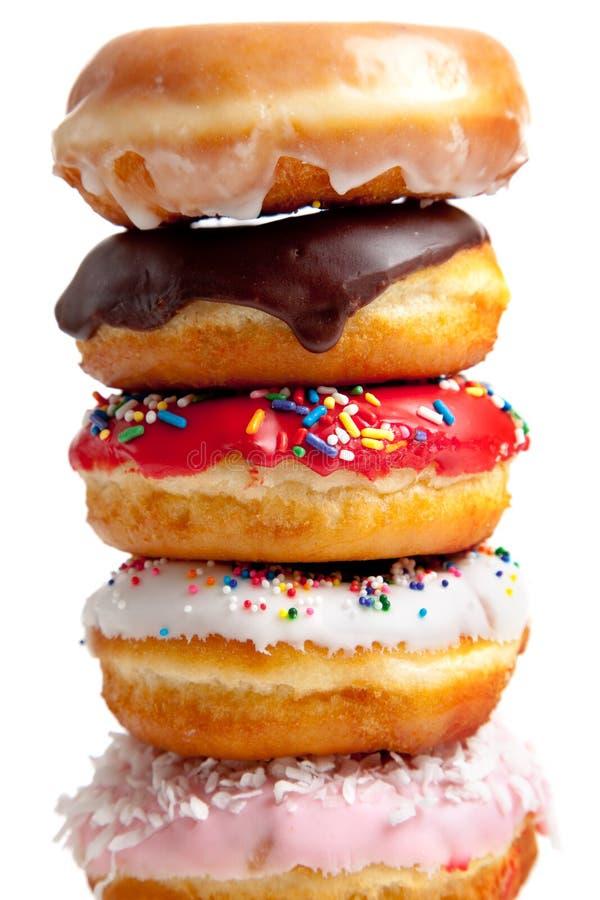 Geassorteerde Donuts op wit royalty-vrije stock foto