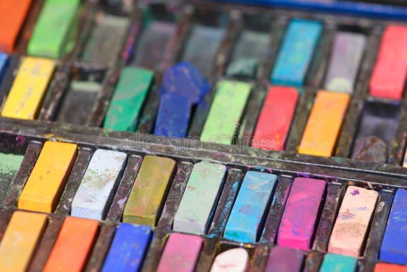 Geassorteerde gebruikte pastelkleuren stock fotografie