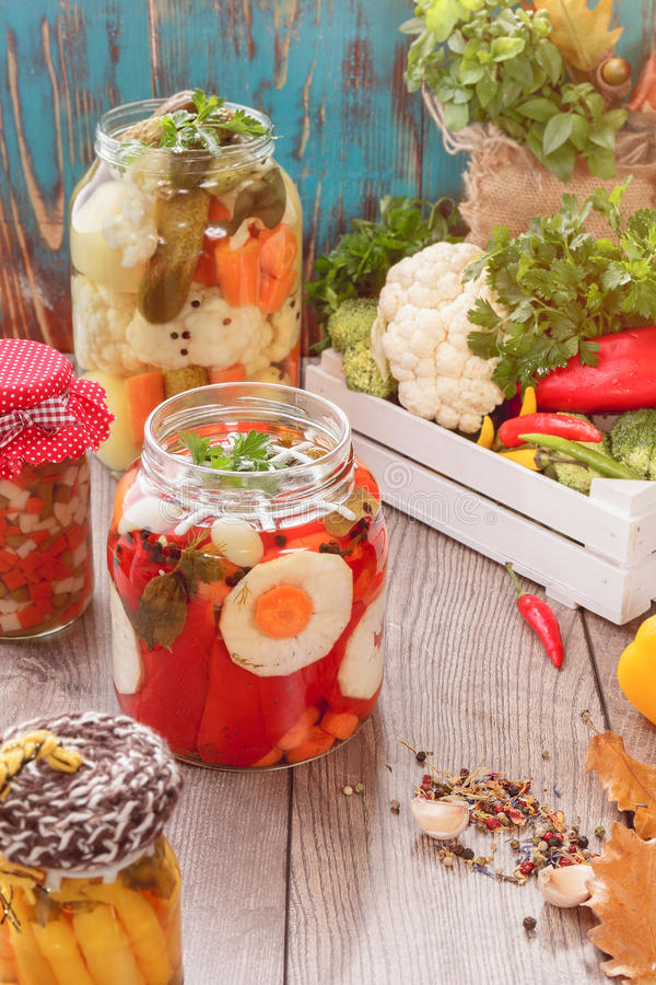 Geassorteerde gemengde groenten in het bewaren van kruiken stock afbeelding