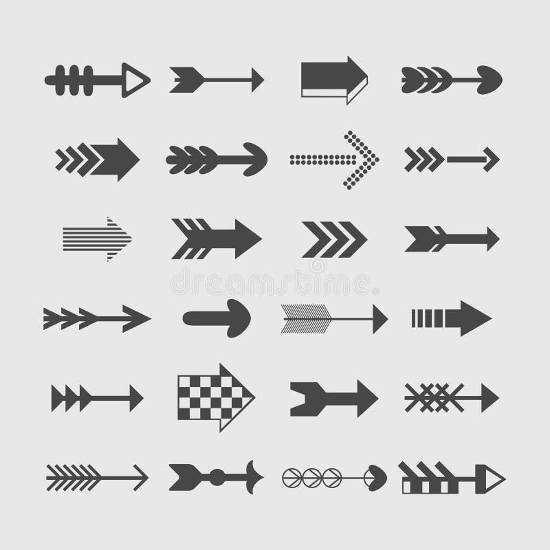 Geassorteerde geplaatste de pijlenpictogrammen van de silhouetrichting vector illustratie