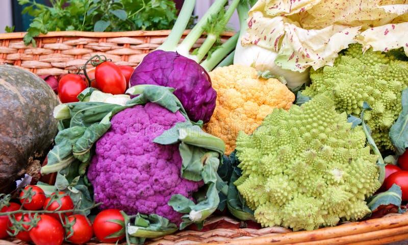 Geassorteerde groenten in een mand royalty-vrije stock afbeelding