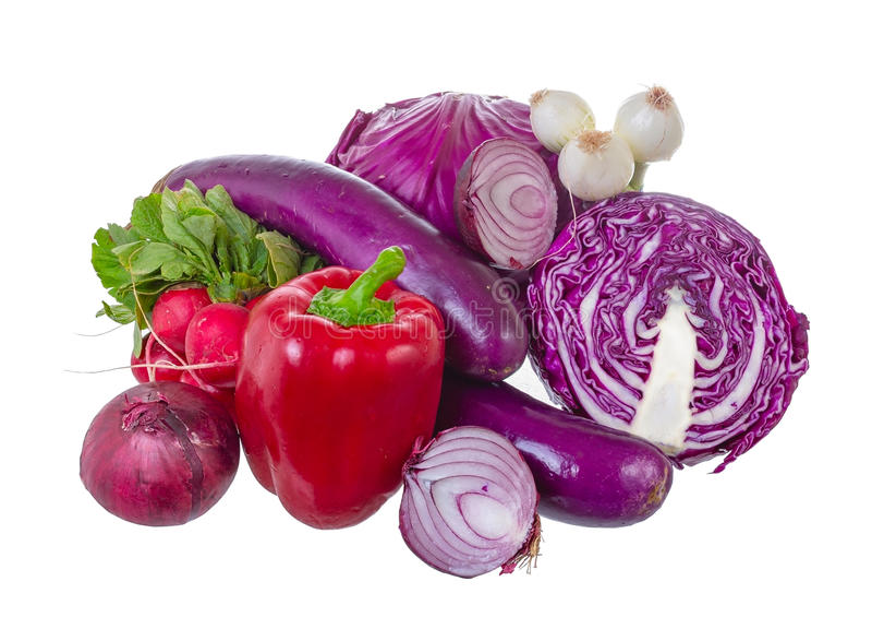 Geassorteerde groenten in violette gamma. royalty-vrije stock foto's