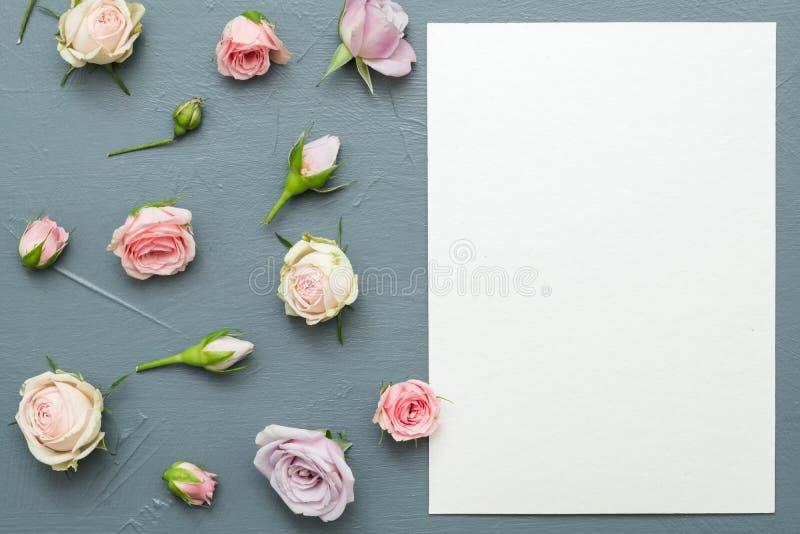 Geassorteerde groet de kaart bloeit grijze achtergrond stock foto's