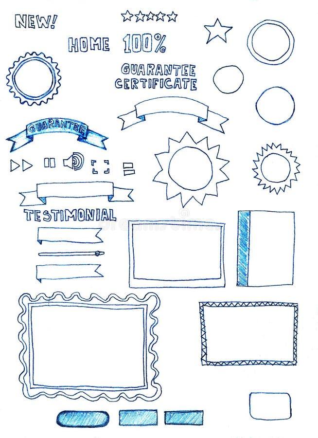 Geassorteerde hand-drawn de elementenkrabbels van de Webgrafiek royalty-vrije illustratie