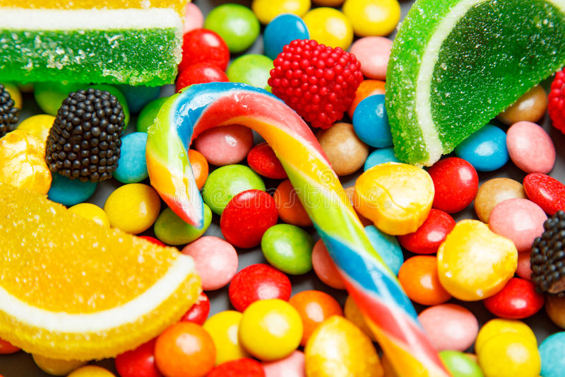 Geassorteerde mengeling van diverse suikergoed en gelei royalty-vrije stock afbeelding